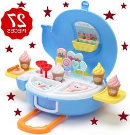 Ice Cream Play Set  - 27pcs Ice-Cream Food Trolley & Ice cre