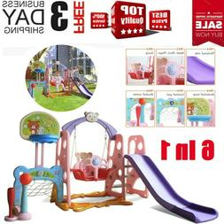 6in1 Swing Set For Backyard Playground Slide Fun Playset Out