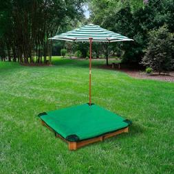 Interlocking Sandbox with Cover and Umbrella