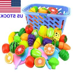 Kid Baby Fruit Role Play Fruit Food Cutting Set Reusable New