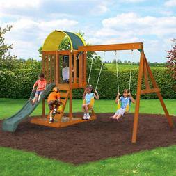Wood Frame Swing Set For Kids Backyard Playhouse Play Park O
