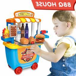 Kids Barbeque Grilling Cart Playset Hamburg Food BBQ Shop Ca