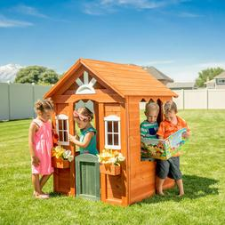 kids cedar wooden ourdoor playhouse cottage backyard