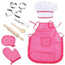 Kids Cooking Baking Complete Set Girls Chef Pretend Play Kit