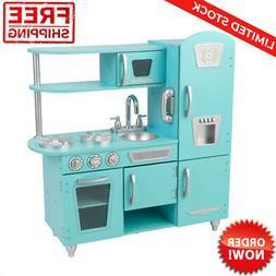 Vintage Play Kitchen Set Wooden Toy Kids Freezer Microwave S