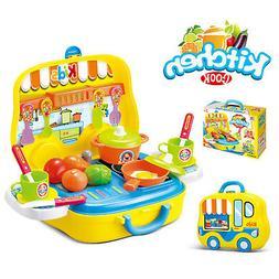 Kids Kitchen Playset Children Toy Pretend Play Set Cooking F