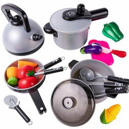 Kids Kitchen Pretend Play Toys, Cooking Set, Pots and Pans,