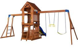 Kids Outdoor Playset Swing Outdoor House Slide Jungle Gym Wo