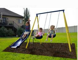 Kids Playground Metal Swing Set With Slide Outdoor Backyard
