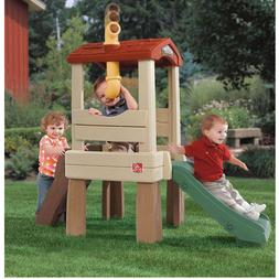 Kids Playground Slide Tree-house Climber Playset Outdoor Swi