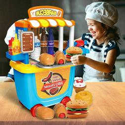 Kids Pretend Food Kitchen Cooking Role Play Set BBQ Grill Fo
