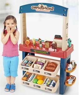 Kids Supermarket Ice Cream Cart Shop Dessert Food Pretend Ro