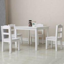 New Style Kids White Square Table and 4 Chair  Play Set Wood