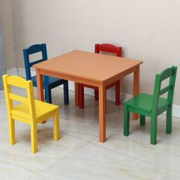 Kids Wood Table and 4 Chairs Set Activity Play Outdoor and I