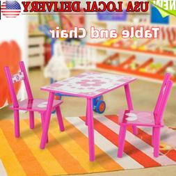Kids Wood Table and Chairs Play Set Toddler Child Activity F