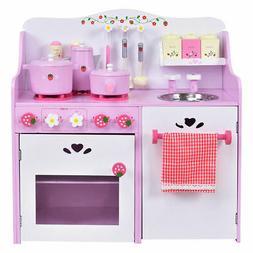 Kids Wooden Play Set Strawberry Pretend Cooking Playset Kitc
