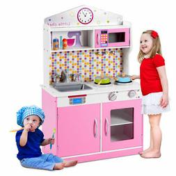 Kids Wooden Pretend Cooking Playset Kitchen Toys Cookware Pl