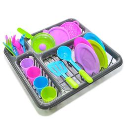 Kitchen Dishes Play Set 27 Pc Dish Washing Experience Spoons