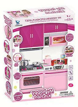 Kitchen Play Set For Barbie Doll House Furniture Cooking Tod