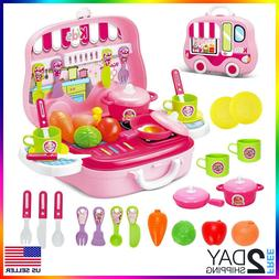 Kitchen Play set for Girls Kids Pretend Cooking Playset for