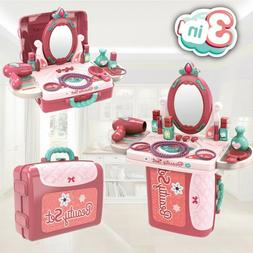 Kitchen Play Set Pretend Make Up Kids Toy Vanity Playset Gir