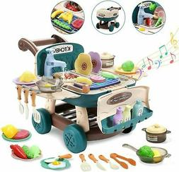 Kitchen Play Set Pretend Playset BBQ Toy Cooking Sink For Ki