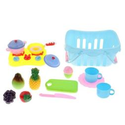 Kitchen Toys Fun Cutting Fruits Pretend Food Playset for Kid