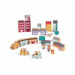 Janod Kubix - 22 Piece Wooden City Play set, Buildings, Trai