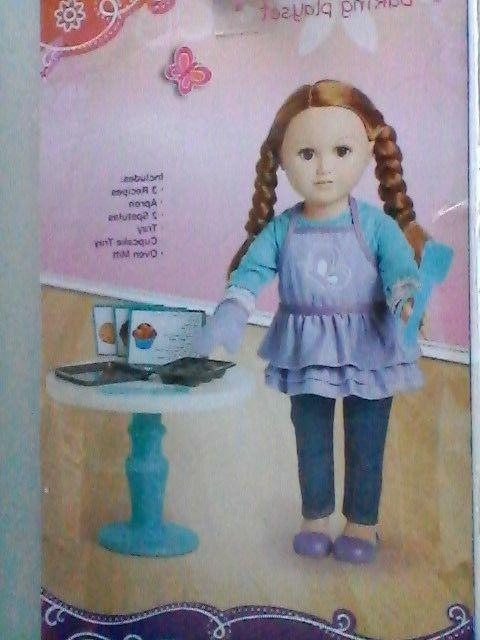 """Details about  /DOLLY BAKERY PLAY SET 9 Pieces Apron Mitt 2 Cupcake Pans for 18/"""" Doll NEW"""