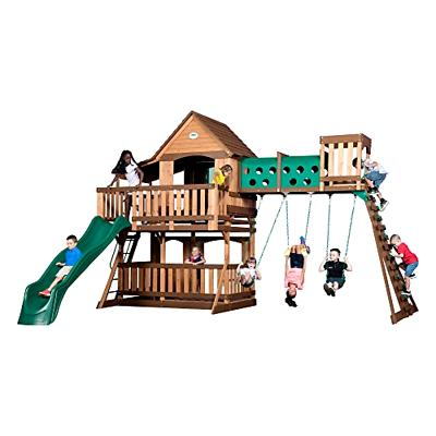 1801080 woodridge elite swing set brown tan