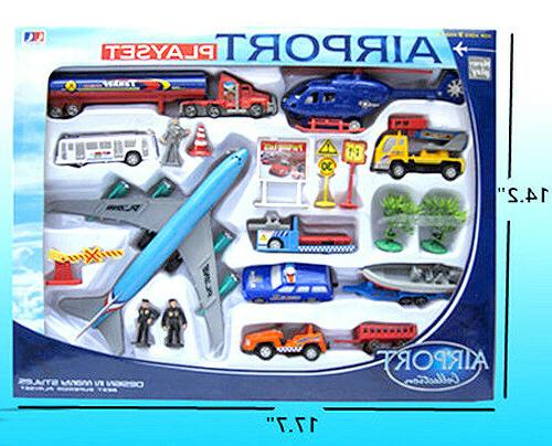 20 Piece - Airport Airplanes Cars Helicopter Toys