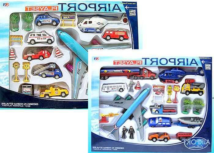 20 piece set airport airplanes signs cars