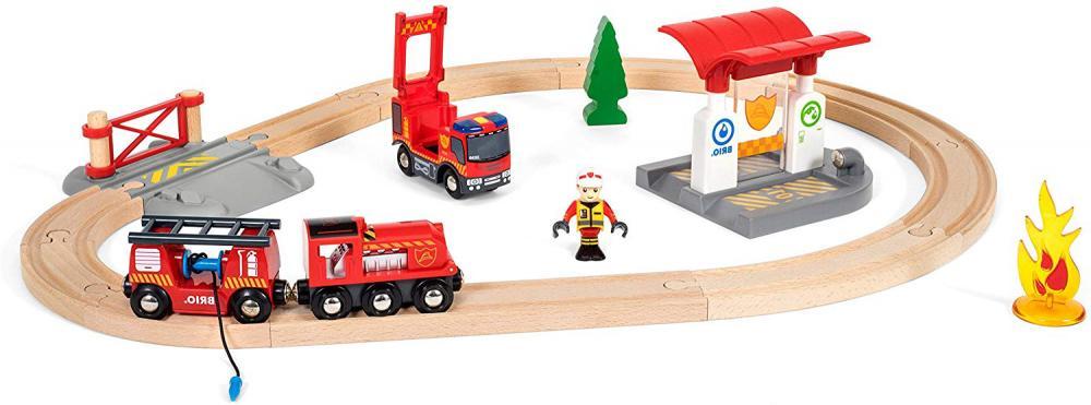 BRIO 33815 Rescue Firefighter Set | 18 Piece Train & Engine