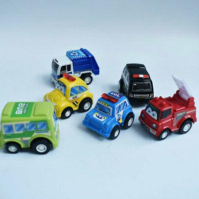 6Pcs/set Mini Toy Cars Pull Back Car Play Set Cartoon Vehicl
