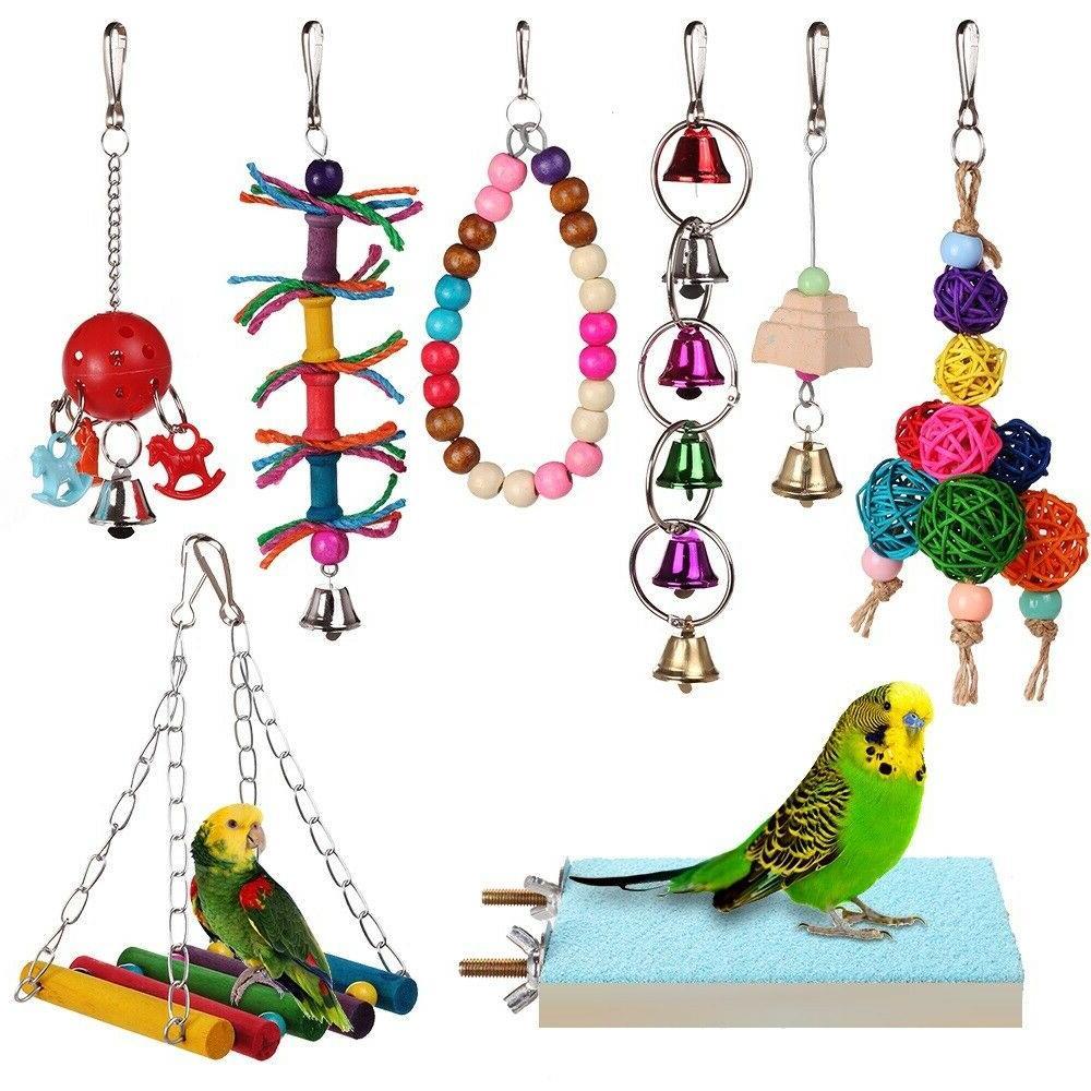 8pcs bird ladder swing toys play set