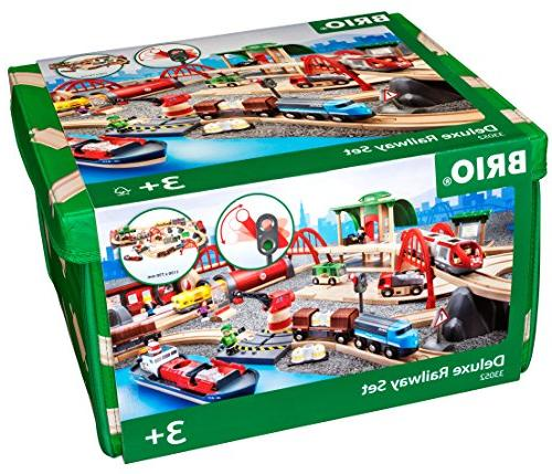 Brio Deluxe Railway Set Wooden Toy Train Set for Kids - Made