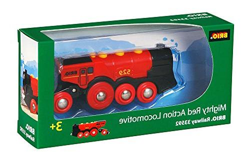 Brio Mighty Action Locomotive Toy Train, Red - Battery Opera
