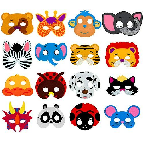 animal masks for kids party 16 assorted
