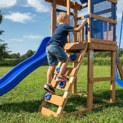 Wooden Swing Cedar Playground Slide Backyard NEW