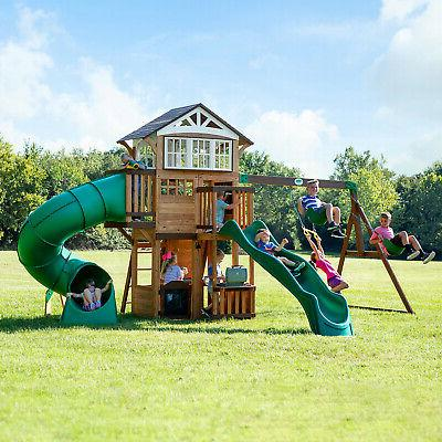 backyard discovery bristol point cedar swing set