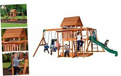 backyard discovery monticello all cedar wood playset