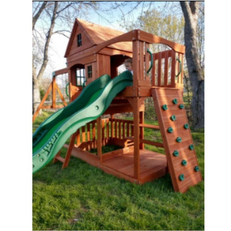 Backyard Pacific View All Cedar Wood Playset Swing Mat Seat Equipment