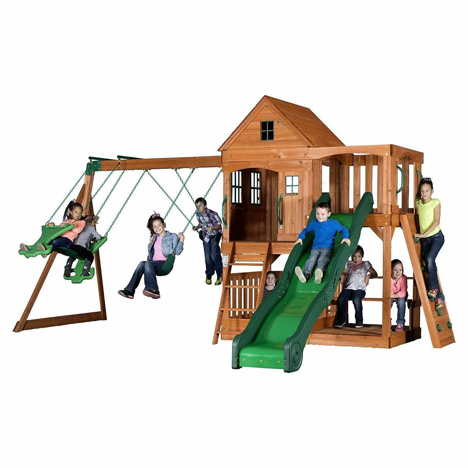 Backyard Cedar Wood Playground Swing Mat Seat Equipment