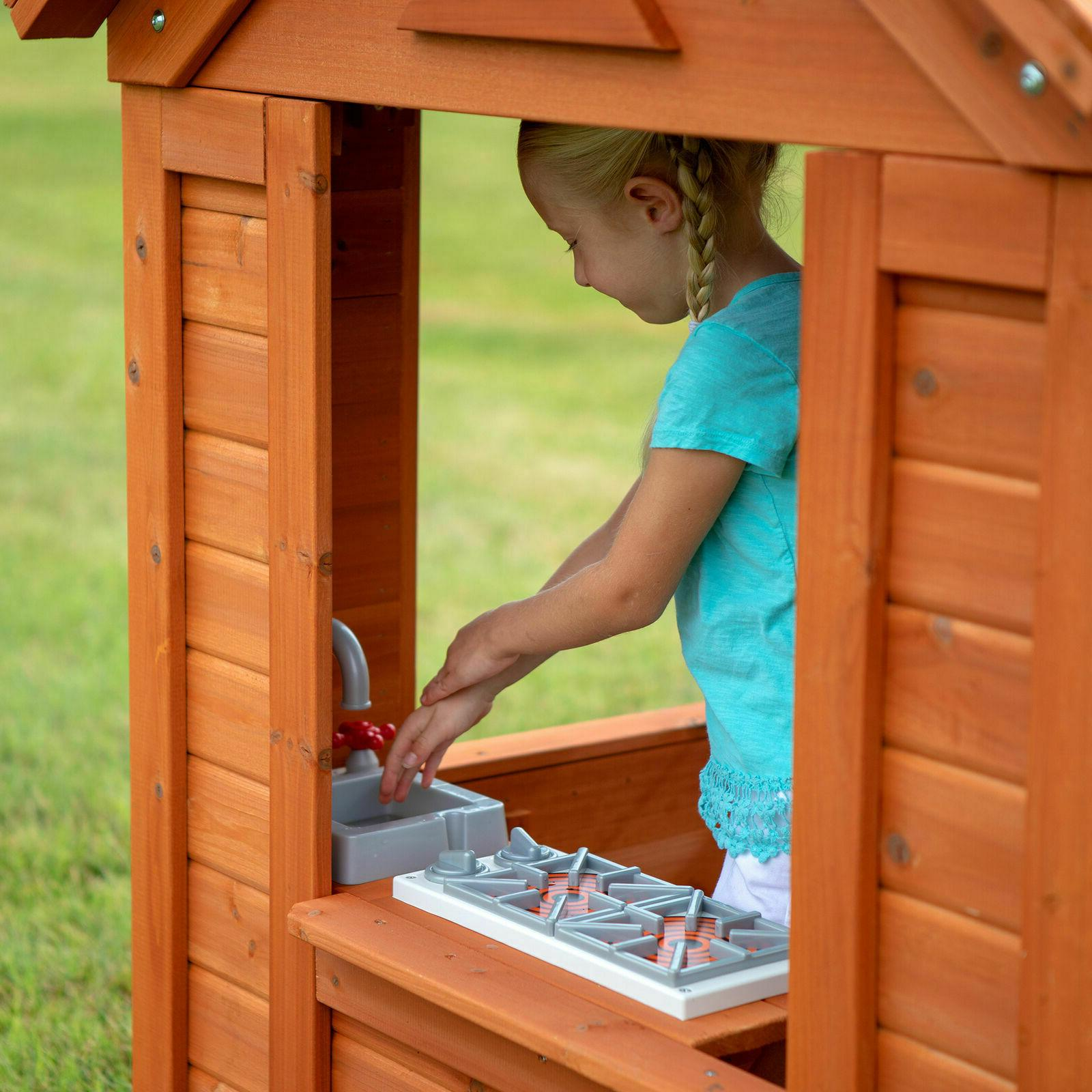 Backyard Wooden Outdoor House Playset Cottage Cedar Kids Big