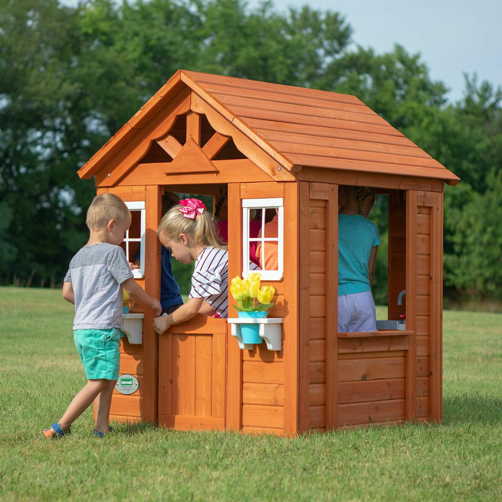 Backyard Playhouse Outdoor House Playset Cottage Cedar