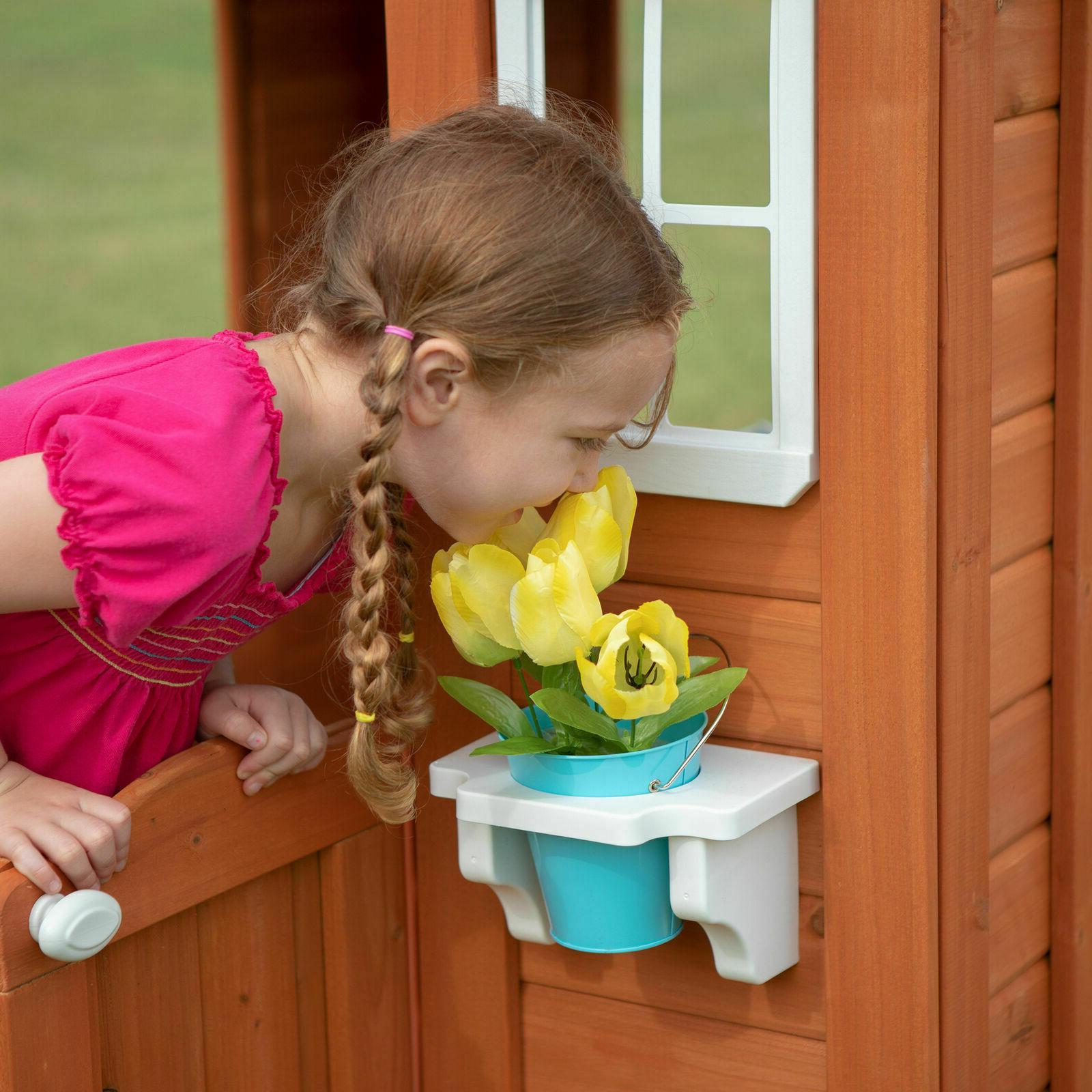 Backyard Playhouse Wooden Outdoor House Playset Cedar Kids Best