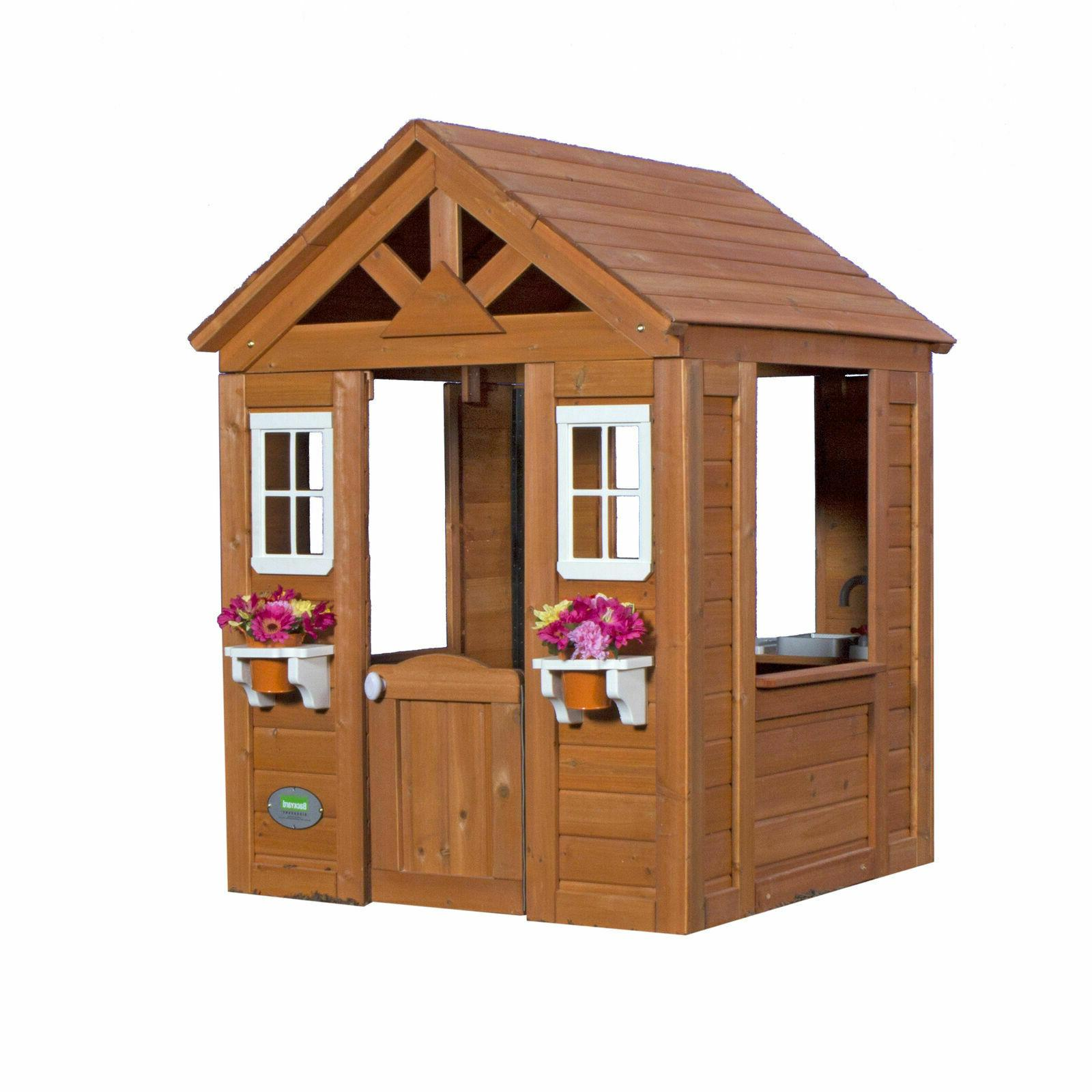 Backyard Playhouse Wooden Wood Outdoor House Playset Cottage