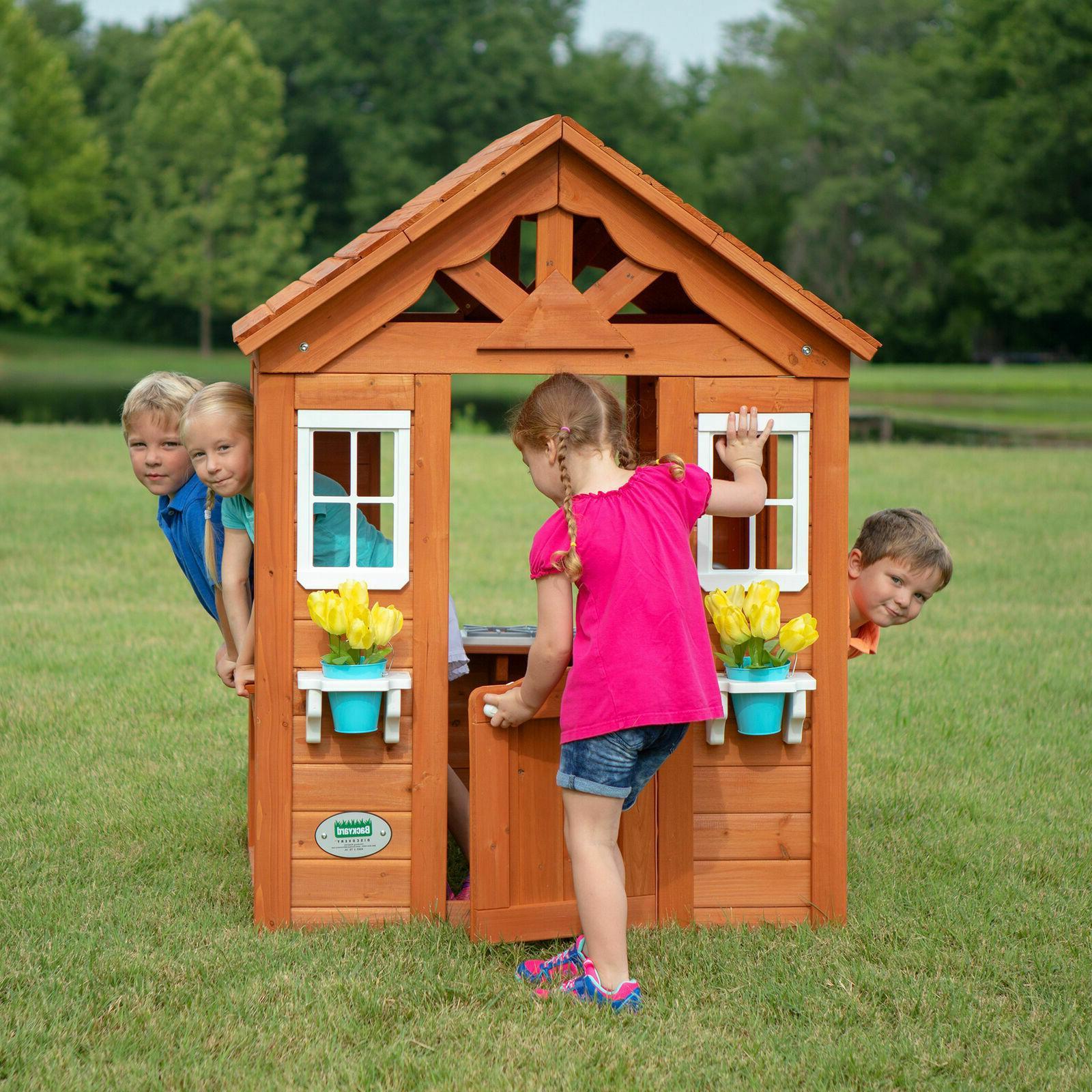 Backyard Wooden Wood Outdoor House Playset Cedar
