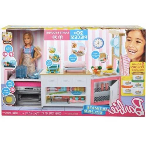barbie ultimate kitchen 20 pieces lights