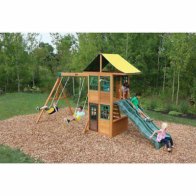 BIG Backyard Swing Set Double Slides Wood Outdoor Playground